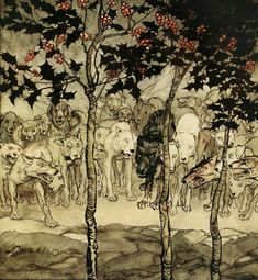 """Arthur Rackham - Irish Fairy Tales by James Stephens, 1920 - """"They stood outside, filled with savagery and terror"""""""