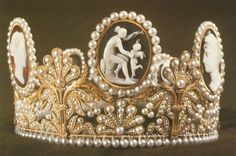 Cameo Crown; c.1811, worn by Crown Princess of Sweden, Victoria in her wedding, just as her mother, Silvia, did when she married the reigning King of Sweden.  The tiara was made in 1811 for Queen Josephine, the first wife of Napoleon I.  In 1823 Queen Josephine gave it to her grandaughter, Josephine of Leuchtenburg, as part of her dowry when she married the future King of Sweden, Oscar I.