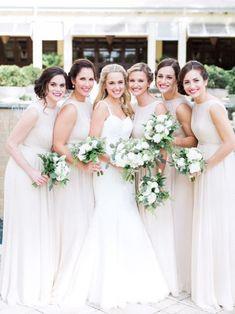 All White Bridesmaid Dresses
