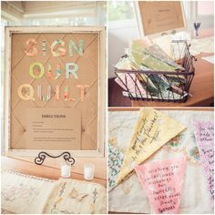 Sign Fabric Quilt Pieces for a Wedding Guest Book