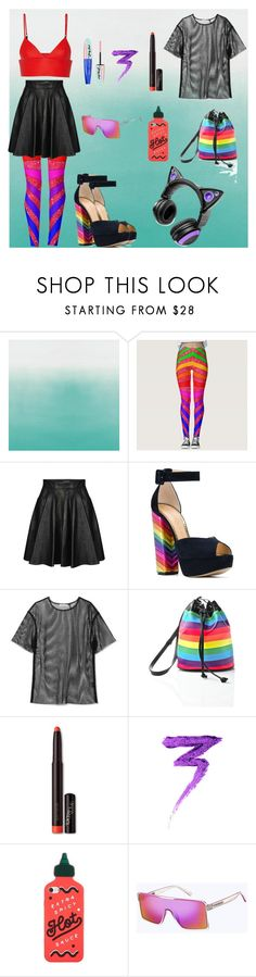 """Rainbows And Leather"" by freefreak ❤ liked on Polyvore featuring Designers Guild, Jeremy Scott, Charlotte Olympia, Helmut Lang, Current Mood, Laura Mercier, ban.do, Marc Jacobs, Brookstone and L'Oréal Paris"