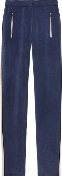 Striped Washed Cupro-blend Pants