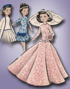1950s Stunning Butterick High Heel Doll Clothes Pattern 10 5 inch Barbie Size | eBay