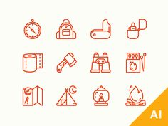 Hey, dribbblers!  As I promised - you can grab this mini camping icons set for free. Ai File Attached   Have a great weak, guys!