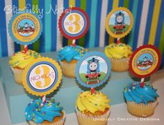 Thomas the Train  Cupcake Toppers by BlissfullyNoted on Etsy, $12.00