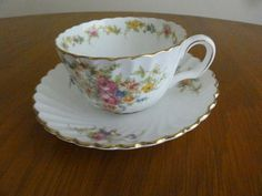 MINTON LORRAINE Cup Saucer Rare  Cream pink flowers made in England