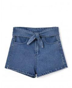 Blue Korean Cute High Waist Bow-tie Denim Shorts