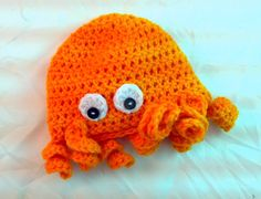 Orange octopus beanie newborn by AidensSpark on Etsy. $20.00, via Etsy.