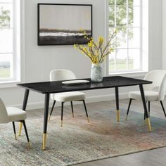 Black Rectangle Wood Top Mid Century Dining Table Mid Century Dining Table, Metal Dining Table, Dining Chairs, Dining Room, Midcentury Modern Dining Table, Black And White Furniture, Swinging Chair, Mid Century Furniture, Dining Furniture