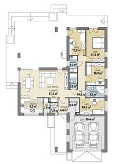 DOM.PL™ - Projekt domu FA Oceania II CE - DOM GC7-08 - gotowy koszt budowy House Plans Mansion, New House Plans, Dream House Plans, House Floor Plans, Modern Bungalow House, Modern House Design, Circle House, Affordable House Plans, Three Bedroom House Plan