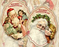 Printable Christmas Labels on Digital collage sheet Christmas downloads Christmas decor prints for paper craft, scrapbooking, journaling, paper goods, Christmas decorations made by FrezeArt
