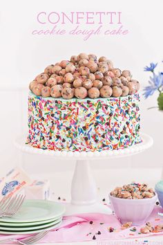 Confetti Cookie Dough Cake Vanilla cake with vanilla buttercream and tons of cookie dough Homemade Desserts, Köstliche Desserts, Delicious Desserts, Dessert Recipes, Spring Desserts, Creative Desserts, Sweet Desserts, Plated Desserts, Confetti Cookies