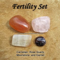Fertility Crystal Healing Set - Carnelian, Garnet, Moonstone, and Rose Quartz — Also PCOS, Sexual Libido and Passion Fertility Crystal Healing Set Carnelian by dragonfaecreations