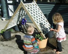 let the children play: our preschool bean hut. This would also be good as an outdoor weaving activity