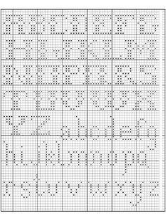Alphabet in Filet Crochet I (free crochet pattern): filet