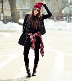 red checkered shirt, black leather jacket
