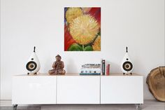 Big Sunflower painting acrylic painting large by SharonFosterArt