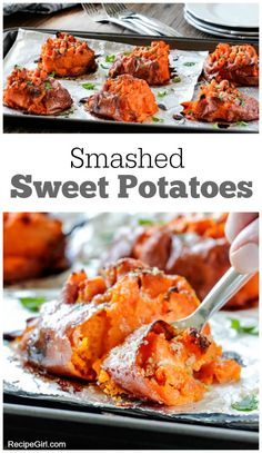 Smashed Sweet Potatoes : a delicious, easy side dish recipe! I would skip the butter & brown sugar for AIP. Potato Dishes, Vegetable Dishes, Vegetable Recipes, Side Dish Recipes, Dinner Recipes, Side Dishes, Dinner Ideas, Smashed Sweet Potatoes, Boiling Sweet Potatoes