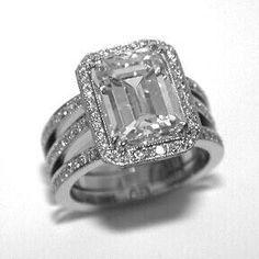 Princess Cut Diamond Engagement Ring 3 Band Wedding Set Sz 7 ...