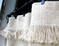 20 Budget-Friendly No-Sew DIY Curtains Ideas Home staging eBook by house staging expert Barbara Pilcher helps you sell your home fast with budget staging tips. No Sew Curtains, Burlap Curtains, Rod Pocket Curtains, Burlap Kitchen Curtains, Fringe Curtains, Kitchen Valances, Velvet Curtains, White Curtains, Burlap Window Treatments