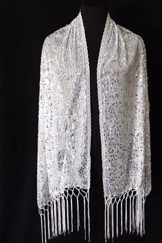 B40 Oblong Sequin Metallic White Silver Lace Scallop Boutique Shawl Scarf