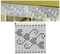 Filet Crochet hearts chart.                                                                                                                                                      Mais
