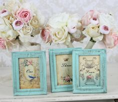 Shabby Chic Table Numbers With Distressed Frames by braggingbags