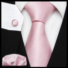 Pink solid Men tie sets Men's dress Solid tie cuff link hand towel over value 1 sets retail Wedding Gifts Free shipping