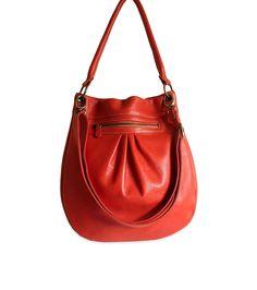 Orange leather bag $145, etsy