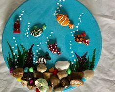 A Beautiful Pebble Art picture,Aquarium Pebble Art , Wall hanging art