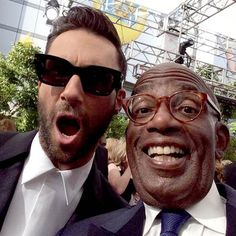 Adam Levine at the Emmys with Al Roker Celebrity Selfies, Celebrity News, Adam Levine, Maroon 5, James Valentine, The Emmys, Squat Workout, Today Show, Bad Boys