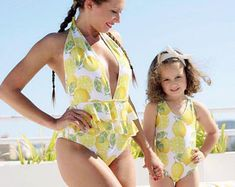 One piece swimsuit // mommy and me swimsuit // mummy and me outfit // bathing suit // swimsuit for girl // swimsuit for baby // lemon Mom And Baby Dresses, Mommy And Me Outfits, Curvy Girl Fashion, Baby Girl Fashion, French Fashion Designers, One Clothing, Matching Family Outfits, School Fashion, Miami