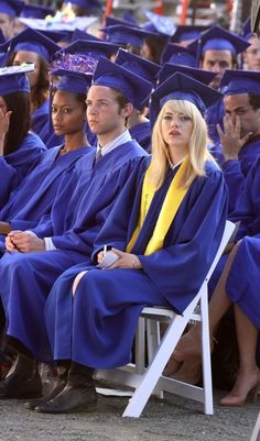 Emma Stone  on the set of 'The Amazing Spider-Man 2' while filming a graduation scene in New York City.