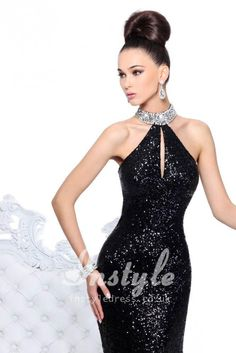 black sparkle sequins sheath long prom dress with beaded halter strap loveeee so much
