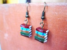 Stack of Books Earrings (Made to Order) - Book Jewelry by Coryographies. £6.00, via Etsy.