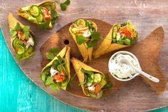 Kijk wat een lekker recept ik heb gevonden op Allerhande! Tacocones met pittige zalm en jalapeño-crème