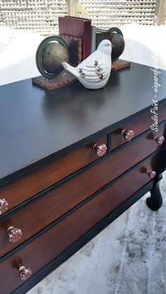RoyalOak Empire Dresser.I wanted to revitalize the wood on the fronts of the drawers so I used my go to wonderful General Finishes Java Gel Stain. I then wanted a black, so I used the General Finishes Lamp Black that gave me the look I was after.