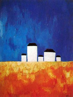 Kazimir Malevich (1879-1935) Russian painter, printmaker, decorative artist and writer. One of the pioneers of abstract art, Malevich was a central figure in a succession of avant-garde movements during the period of the Russian revolutions of 1905 and 1917 and immediately after. The style of severe geometric abstraction with which he is most closely associated, Suprematism, the repercussions of which continued to be felt throughout the 20C.
