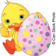 Easter Ducks Clip Art | Easter Duckling gives thumbs up - Illustration of Easter...