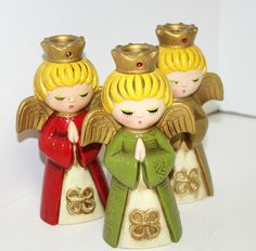Vintage Set 3 Choir Angels Christmas Carolers Candle Holders