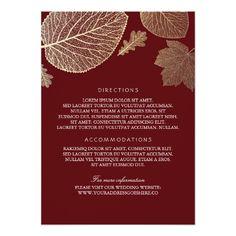 Gold Leaves Burgundy Wedding Details - Information Card