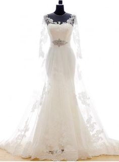 White Lace Long Sleeve Mermaid Bridal Gowns Sweep Train Lace-up Elegant Jewel Royal Princess Wedding Dresses - www.suzhoudress.com
