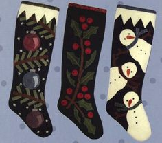 Wool Applique Christmas Pattern - Christmas Stockings Pattern - Snowman Stocking - Holly Stocking - Christmas Ornament Stocking -  #ATN 804 by SimplyUniqueBySheila on Etsy
