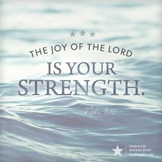 Nehemiah 8:10, theme verse from Through Waters Deep by Sarah Sundin (Revell, August 2015)