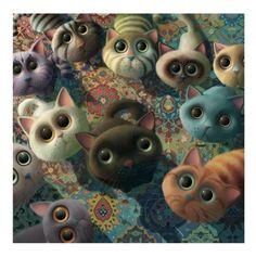 Tea Time signed art print by artist Stephen Hanson in Stephen Hanson Raising Kittens, Cats And Kittens, Street Art, Cross Paintings, Owl Paintings, Whimsical Art, Crazy Cats, Cat Art, Cute Animals