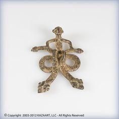 Gan African Bronze Pendant Amulet Serpents-Burkina Faso