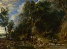 Peter Paul Rubens Peasants With Cattle By A Stream In A Woody Landscape oil painting reproductions for sale