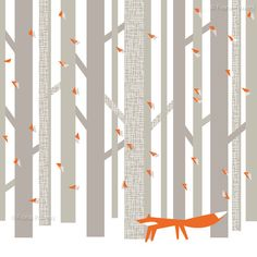 A decorative print of a fox walking through the woods.  This is a high quality giclée print and is printed on Soft Textured Natural Art Paper 315gsm