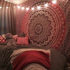 Maroon Floral Ombre Mandala Wall Tapestry Bedding, Beach Throw on RoyalFurnish.com, $20.19