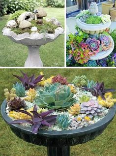 Water fountains make for enchanting petite gardens. How fun would it be to make a little garden with rocks, moss, small plants, and mini gar. maybe buy a bird bath and do this and set in our rock garden Lawn And Garden, Garden Art, Water Garden, Diy Garden, Herb Garden, Garden Kids, Fairies Garden, Gravel Garden, Garden Pond